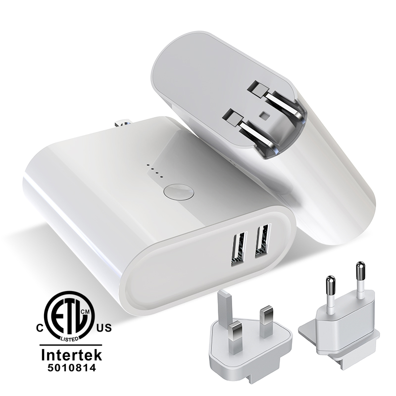 5000 mah 2 in 1 Power adapter&Travel charger