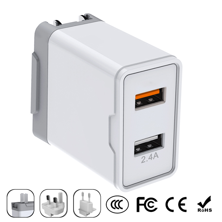 QC 3.0&USB 2.4A 30W Wall charger